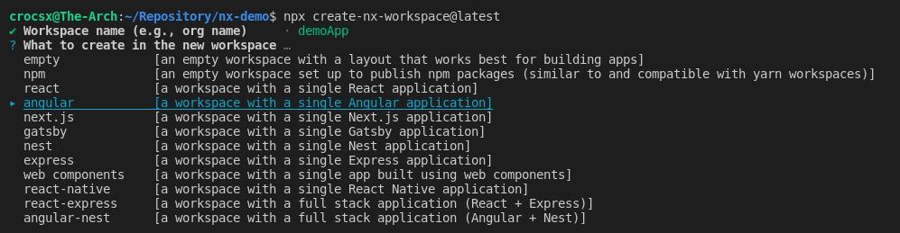 Workspace initialization options